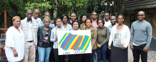 Student group posing for a photo during Swaziland internship exchange program.